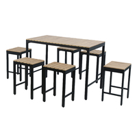 Charles Bentley Polywood and Extrusion Aluminium 6 Seater Bar Style Dining Set