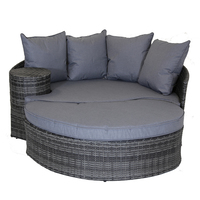 Charles Bentley Rattan Day Bed With Foot Stool And Table - Grey