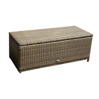 Charles Bentley Rattan Garden Storage Box - Available In Grey And Natural - Natural