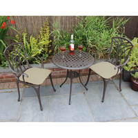 Charles Bentley Cast Aluminium Bistro Table And Chairs Set